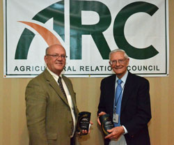 The first two members of the newly established Agricultural Public Relations Hall of Fame were inducted. Lyle Orwig, Charleston Orwig, (left) and Don Lerch, retired.